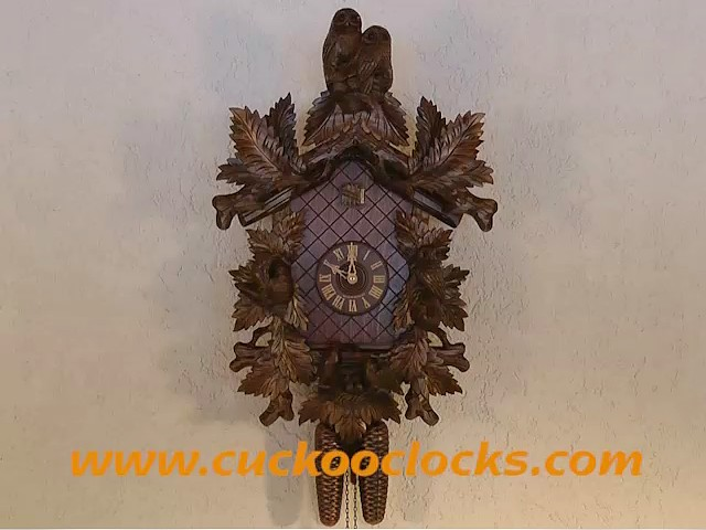 Cuckoo Clock<br>Owls, birds with nest, fern leaves