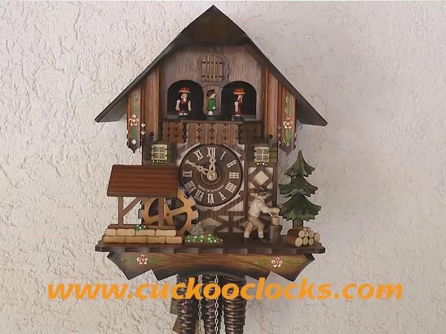 Cuckoo Clock<br>Black Forest House, Mill Wheel, Lumberjack 4.0304.10.C
