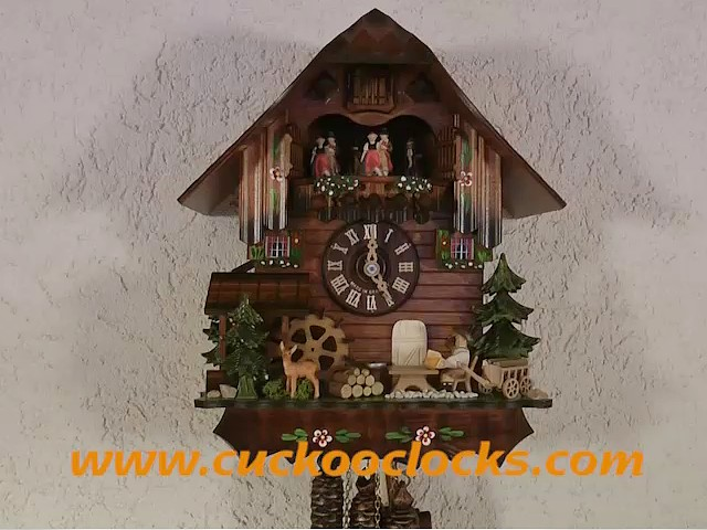 Cuckoo Clock<br>Black Forest house with moving beer drinker, Deer