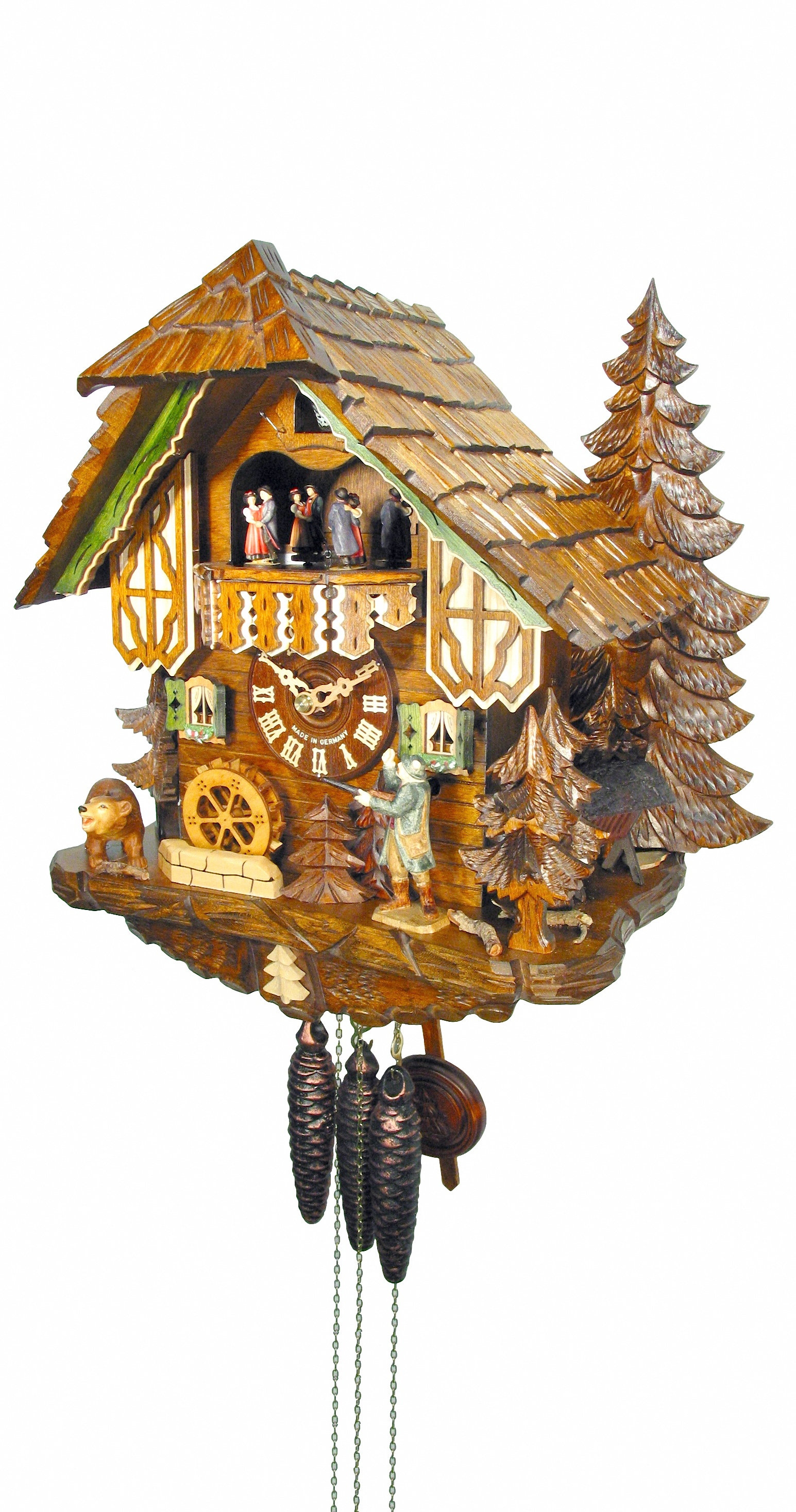 Cuckoo Clock Black Forest house with Forest scene and moving hunter