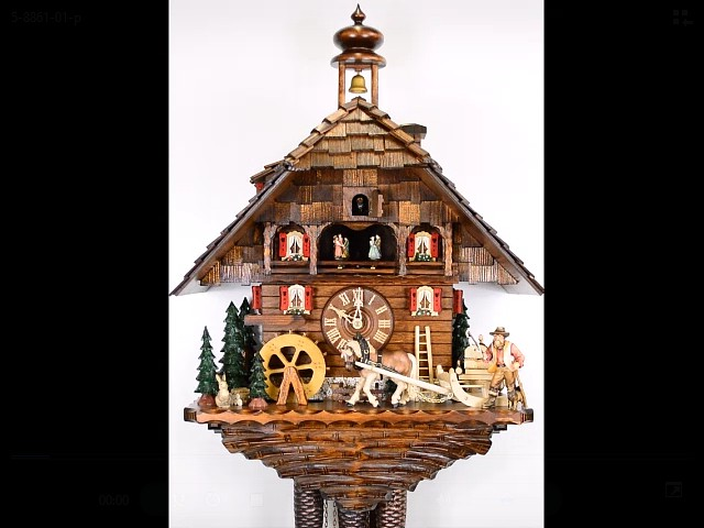 Cuckoo Clock of the year 2015 with back wall<br>Timber haulage to the rafts in the Kinzigtal