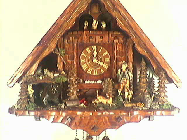 Cuckoo Clock of the year 2008<br>Hunting lodge, hunter, bear