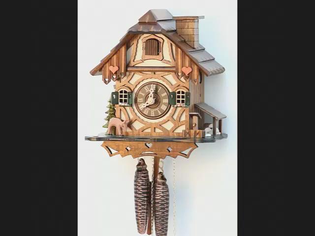 ساعة الكوكو <BR> بيت الغابة السوداء مع مدخنة متحركه