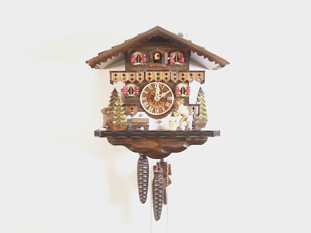 Cuckoo Clock<br>Black Forest house with moving wood chopper EN 4581