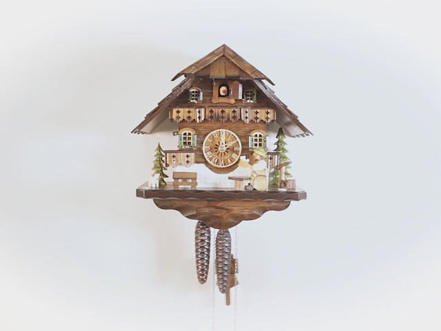 Cuckoo Clock<br>Black Forest house with moving beer drinker EN 4592