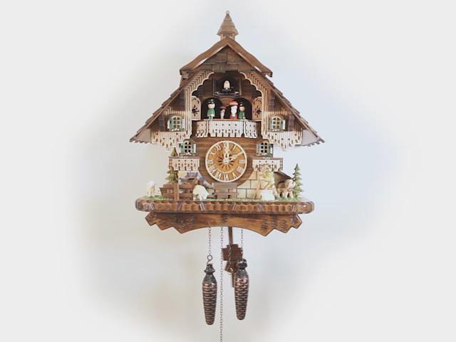 Quarz Kuckucksuhr<br> Schwarzwaldhaus mit Musik und Tänzern EN 46212 QMT