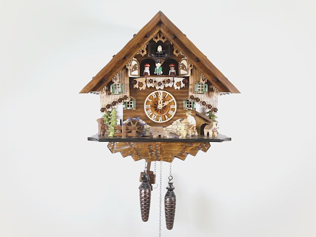 Quarz Kuckucksuhr<br>Schwarzwaldhaus mit Musik und Tänzern EN 4681 QMT