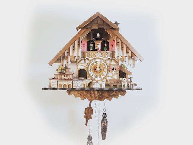 Quarz Kuckucksuhr<br>Schwarzwaldhaus mit Musik und Tänzern EN 48710 QMT