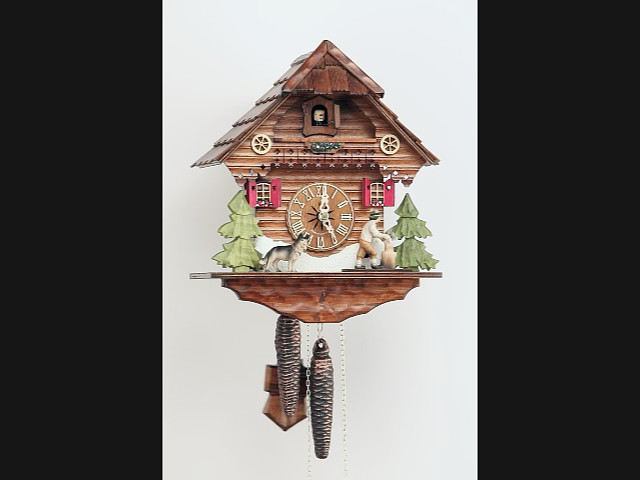 Cuckoo Clock<br>Black Forest house with moving wood chopper KA 1634 EX