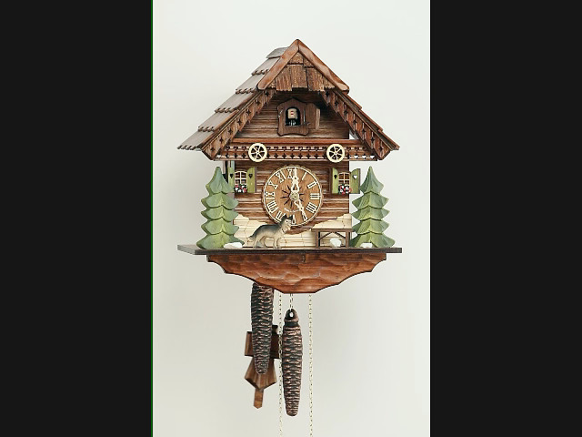 Cuckoo Clock<br>Black Forest House, Dog, Bench KA 1635 EX