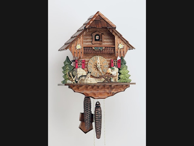Cuckoo Clock<br>Black Forest house with moving beer drinker and dog KA 1636 EX
