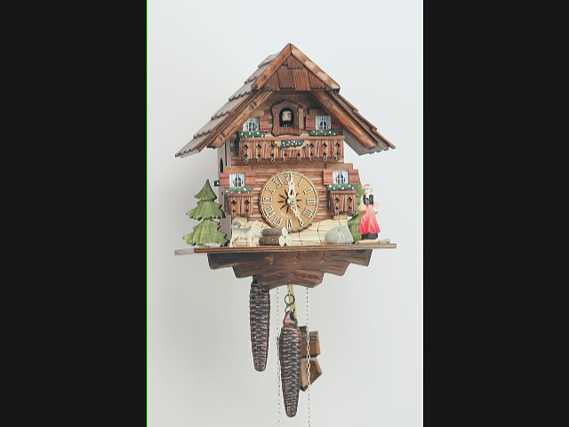 Cuckoo clock<br>Black forest house, wanderer and dog KA 1637 EX