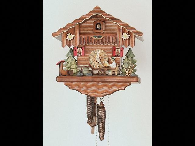 Orologio a cucù<br>Casetta tipo Foresta Nera con uomo che beve birra in movimento KA 1696 EX
