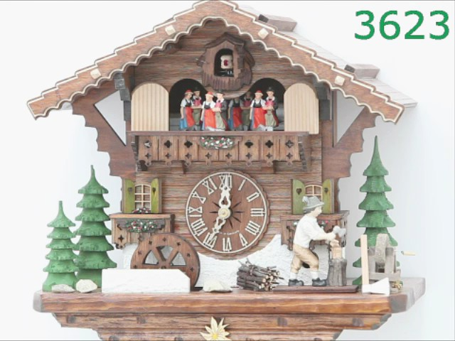Cuckoo Clock<br>Black Forest house with moving wood chopper and mill wheel KA 3623 EX