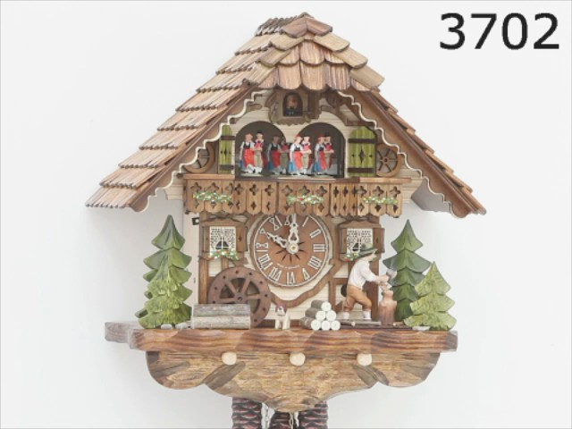 Cuckoo Clock<br>Black Forest house with moving wood chopper and mill wheel KA 3702