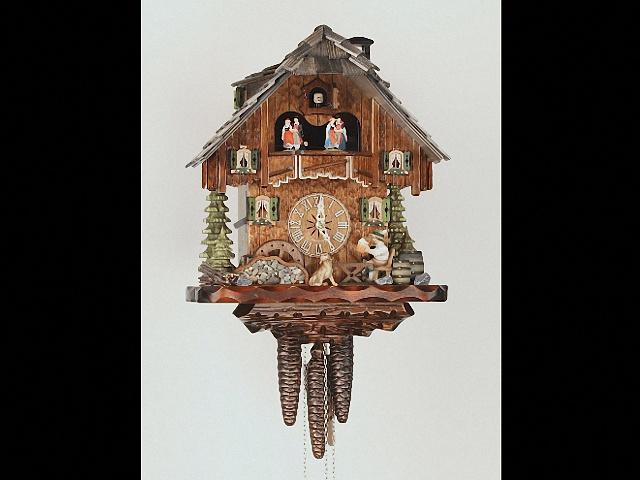 Reloj cucú<br>Casa de la selva negra con bebedor de cerveza y rueda de molino que se mueven