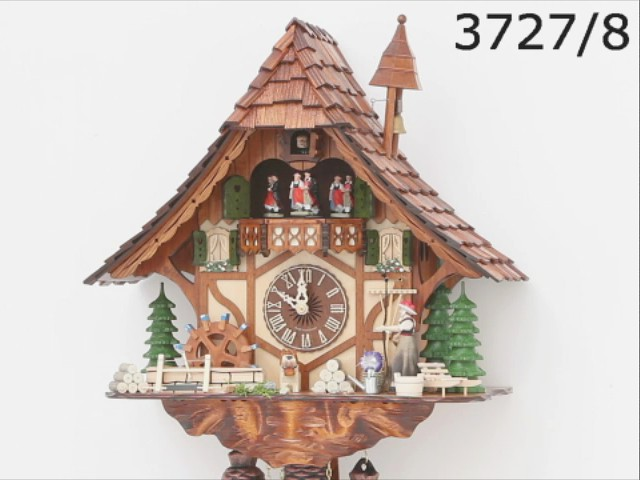 Cuckoo Clock<br>Black Forest house with moving girl and mill wheel KA 3727/8 EX