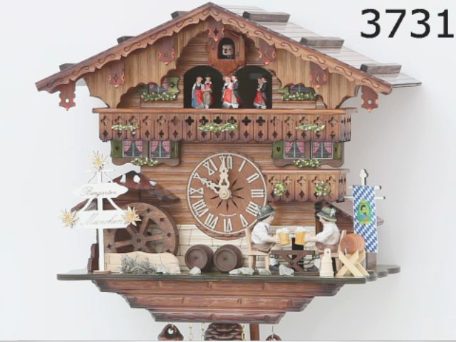 Cuckoo Clock<br>Black Forest house with moving beer drinkers and mill wheel