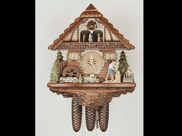 Cuckoo Clock<br>Black Forest house with moving wood chopper and mill wheel KA 3754/8 EX