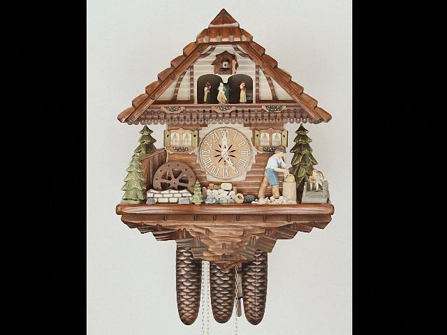 Kuckucksuhr<br>Schwarzwaldhaus mit beweglichem Holzhacker und Mühlrad KA 3754/8 EX