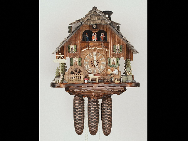 Cuckoo Clock<br>Black Forest house with moving beer drinker and mill wheel