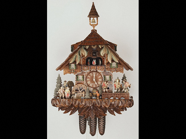 Cuckoo Clock<br> with moving dancers, musicians and turning mill-wheel