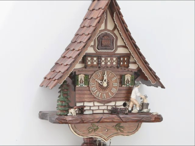 Cuckoo Clock<br>Black Forest house with moving wood chopper