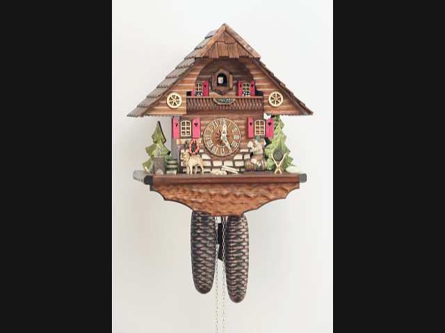 Cuckoo Clock<br>Black Forest house with moving beer drinker KA 862 EX