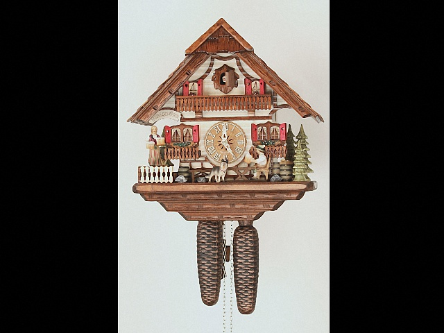 Reloj cucú<br>Casa de la selva negra con bebedor de cerveza que se mueve KA 869 EX