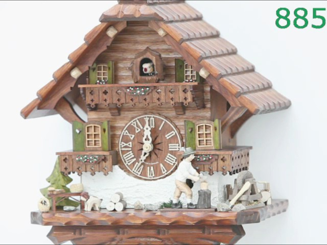 Reloj cucú<br>Casa de la selva negra con leñador que se mueve KA 885 EX