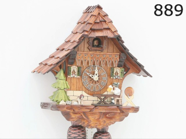 Cuckoo Clock<br>Black Forest house with moving beer drinker KA 889