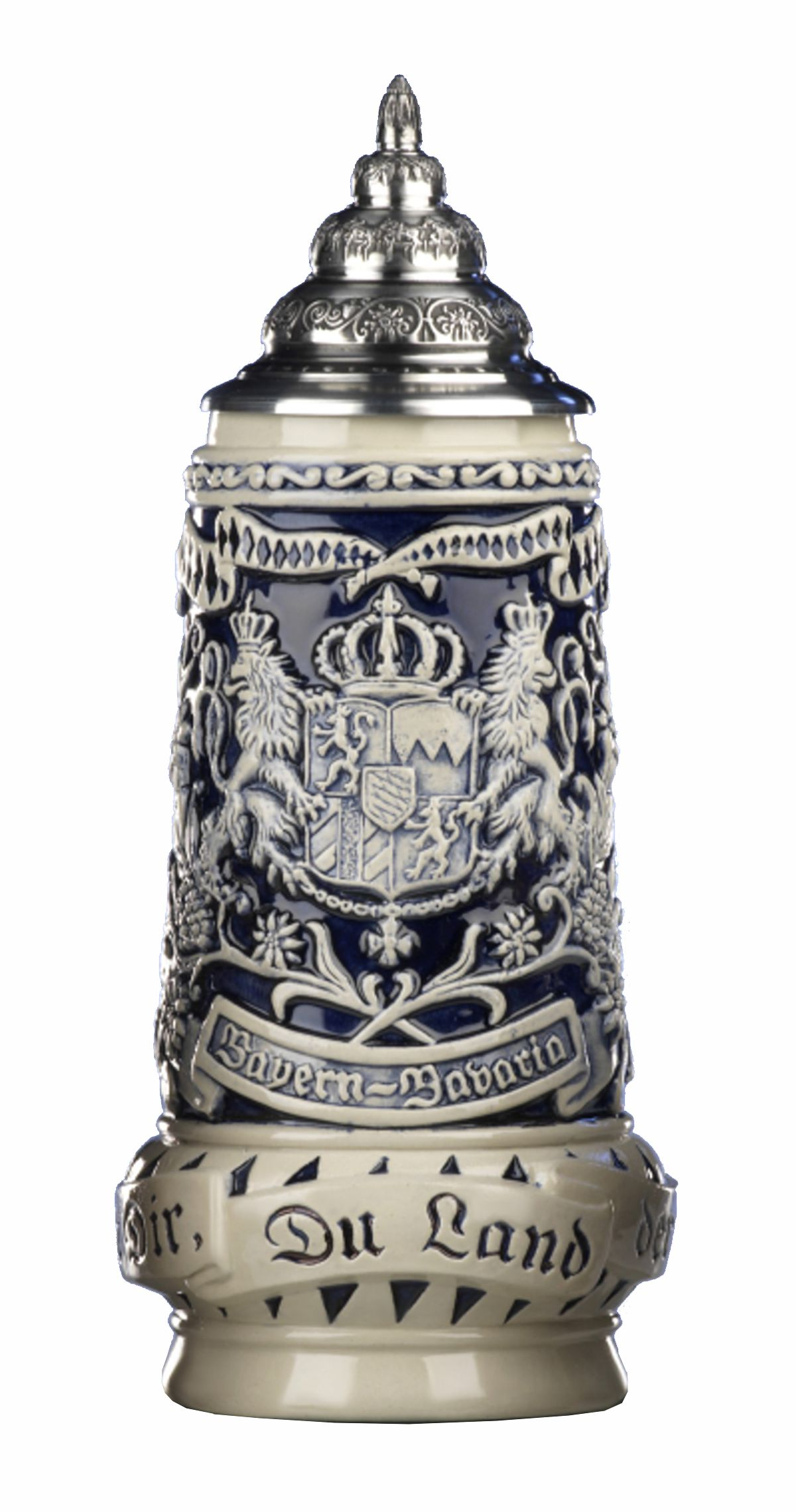 flanked by views of Munich and Neuschwanstein Castle State Coat of Arms in centre panel Land of the Bavarians 0.5 lite King German Beer Stein Bavaria Stein State Motto translated: God with you