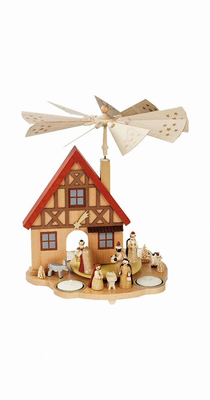 German Christmas Pyramid Nativity Scene With House Height 29 Cm 11 Inch Original Erzgebirge By Richard Glaesser Seiffen