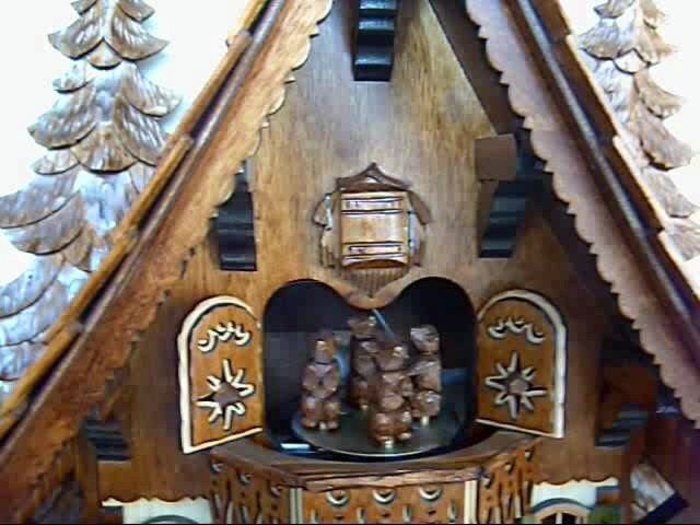 Cuckoo Clock<br>Chalet with moving bear and mill-wheel