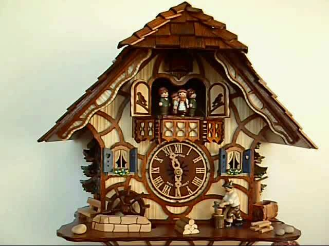 Cuckoo Clock<br>Black Forest house with moving wood chopper and mill wheel