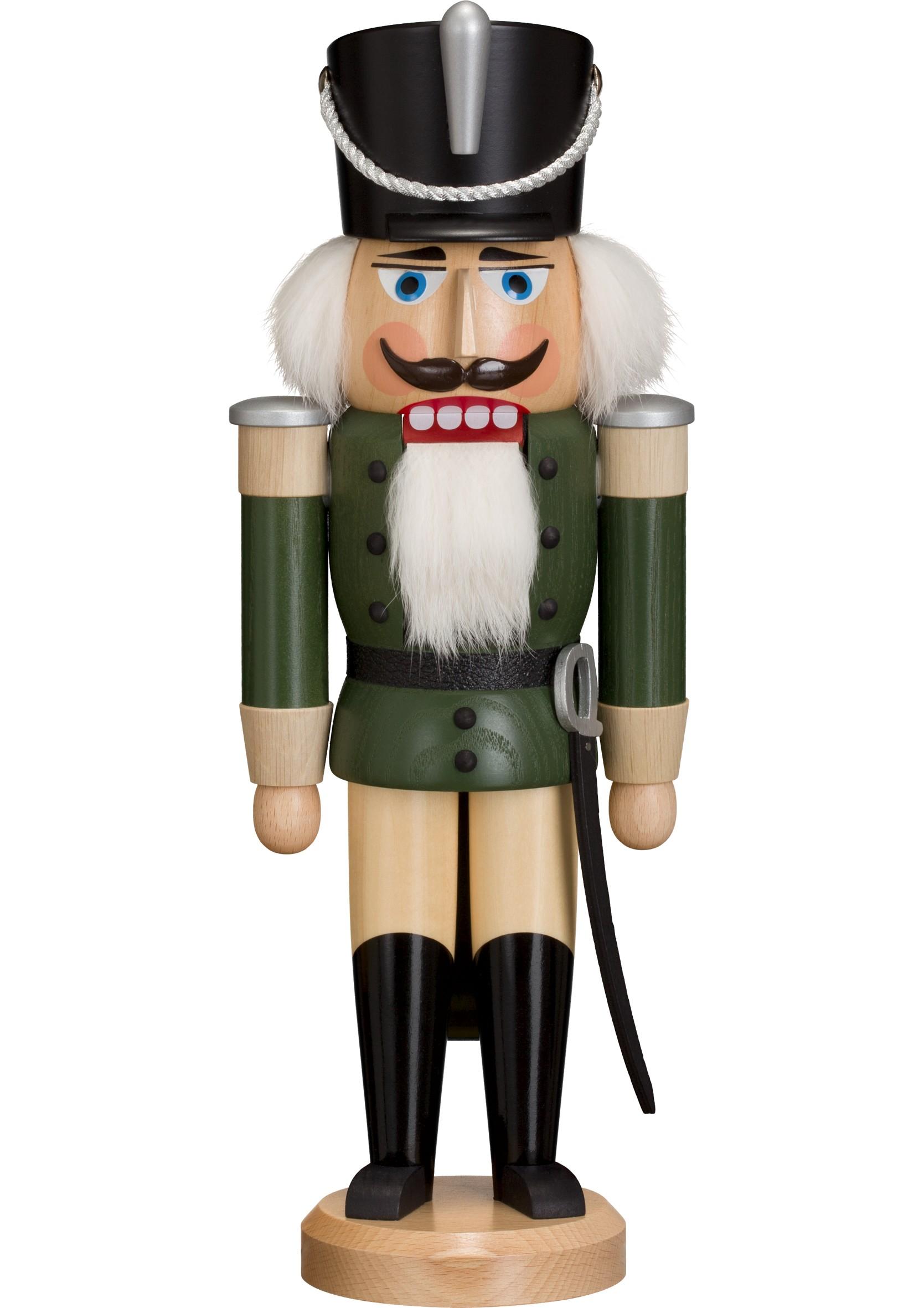 Miniaturnußknacker HUSAR grün Erzgebirge NEU Seiffen Weihnachten Volkskunst Holz