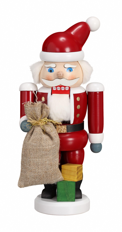 original Erzgebirge by Seiffener Volkskunst German nutcracker Santa Claus red 8 inch height 21 cm