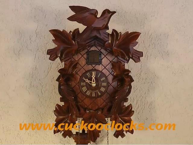 クォーツ式鳩時計<br>リーフ5枚、鳥、電池 TU 351 Q付