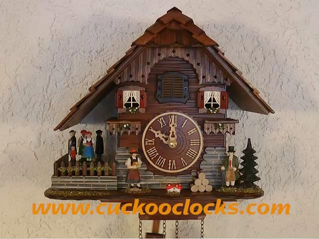 Quartz Cuckoo Clock<br>Black forest house, turning dancers TU 448 QT HZZG