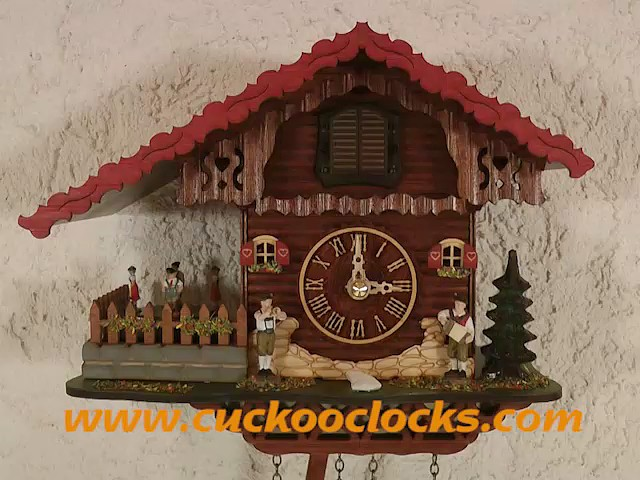 Quartz Cuckoo Clock<br>Swiss house with music, turning dancers TU 457 QMT