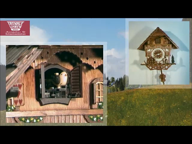 Reloj cucú de cuarzo<br>Casa de la selva negra con musica, leñador que se mueve y rueda de molina TU 468 QM HZZG