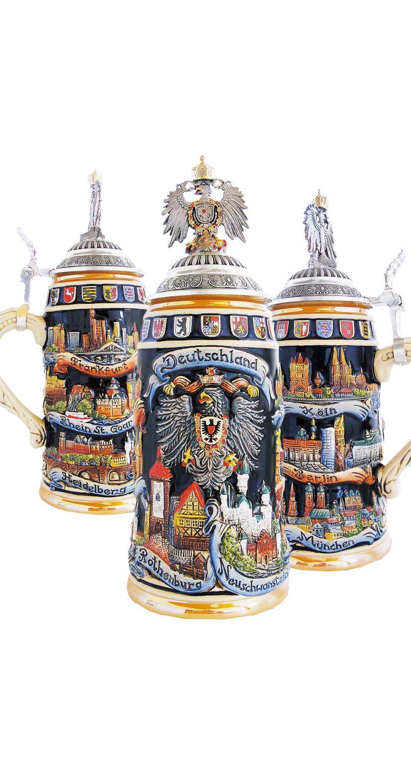 German Beer Stein cities 1 liter